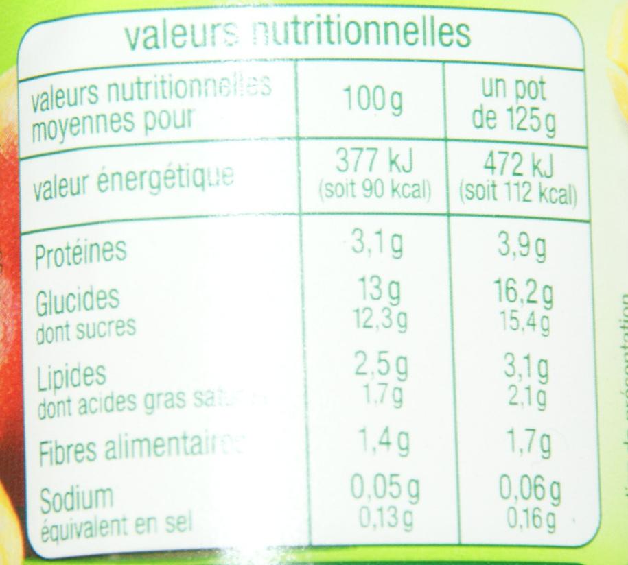 Lait fermenté au Bifidus, aromatisé à la mangue avec des mordeaux de fruits - Informations nutritionnelles - fr