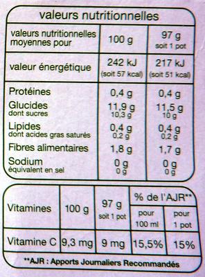 Compote pomme-poire sans sucres ajoutés - Nutrition facts - fr