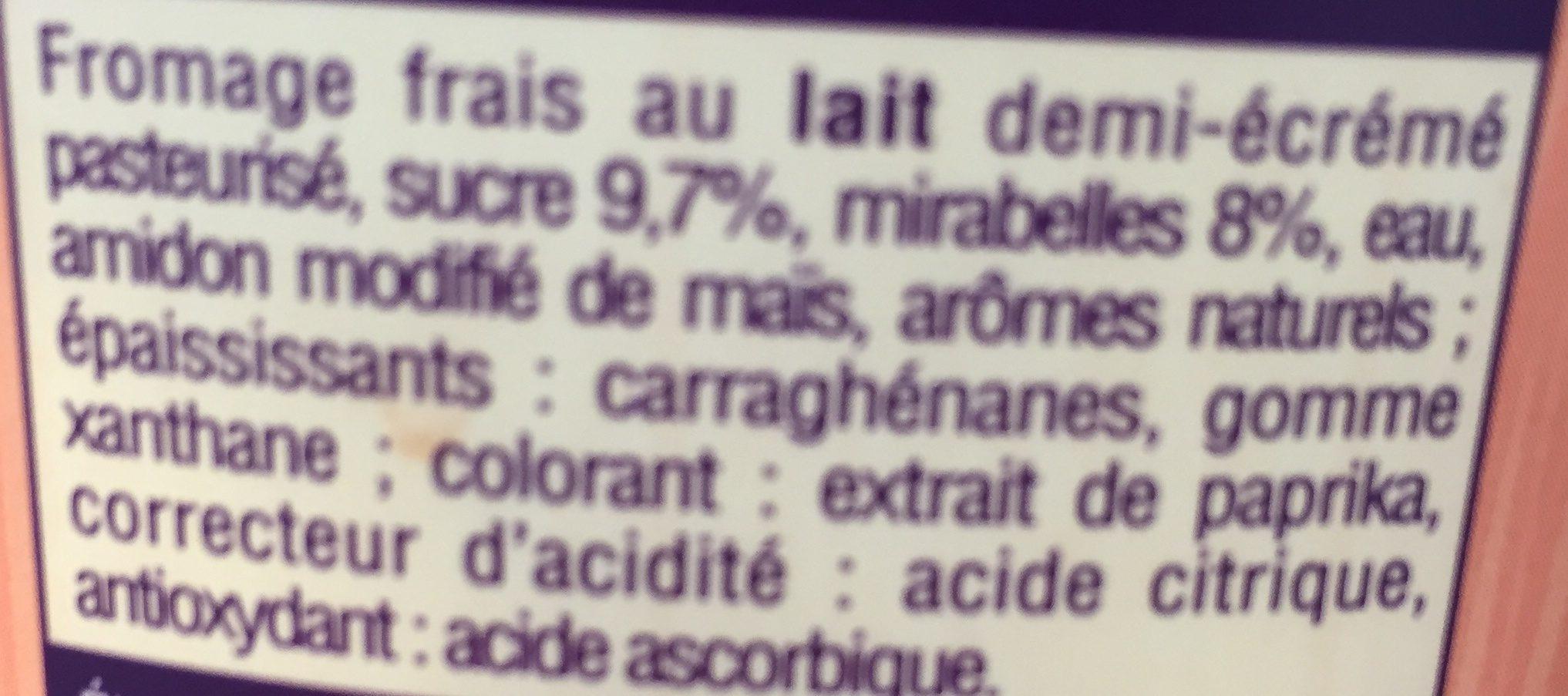 Fromage Frais aux Mirabelles - Ingredients