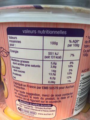 Fromage Frais aux Mirabelles - Nutrition facts