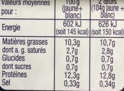 Oeufs moyens de poules élevées en plein air Label Rouge - Nutrition facts