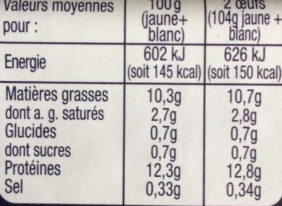 Oeufs moyens de poules élevées en plein air Label Rouge - Nutrition facts - fr