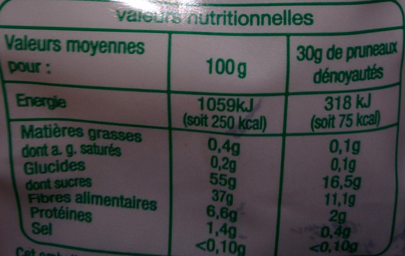 Bio pruneaux - Informations nutritionnelles - fr