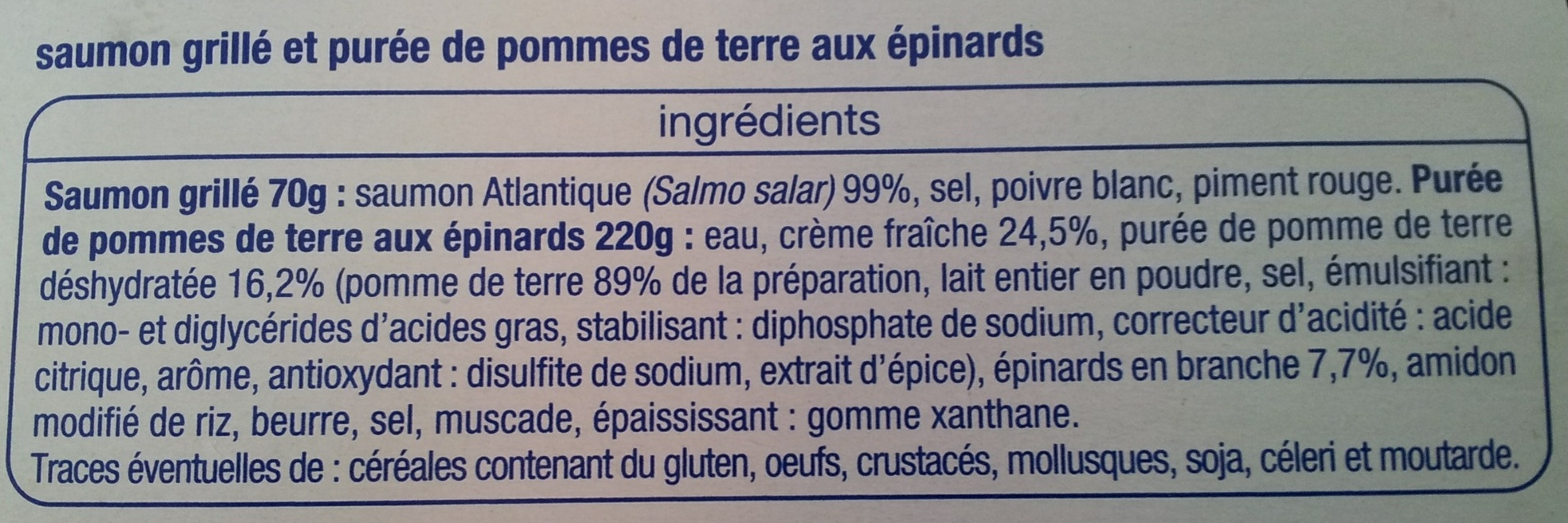Saumon grillé et purée de pommes de terre aux épinards - Ingredienti - fr