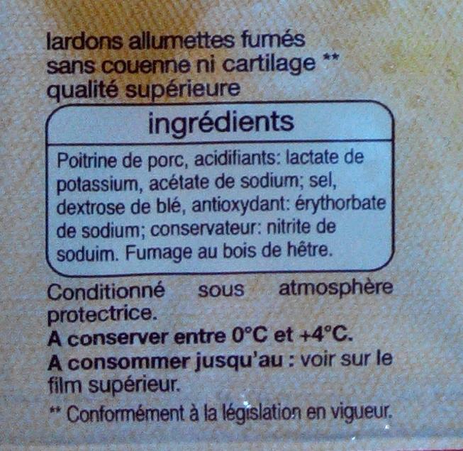 Lardons nature allumettes sans couenne ni cartilage * - qualité supérieure - Ingrediënten