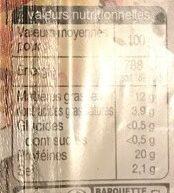 Allumettes de Lardon Nature - Voedingswaarden - fr