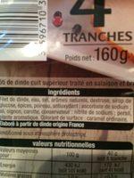 Rôti de Dinde 4 tranches -30% - Ingrédients - fr