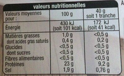 Rôti de Dinde 4 tranches -30% - Informations nutritionnelles - fr
