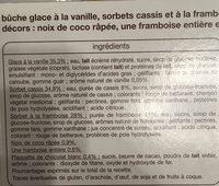 Buche Framboise Cassis Vanille 8 personnes - Ingredients