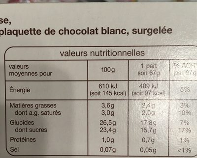 Buche Framboise Cassis Vanille 8 personnes - Nutrition facts