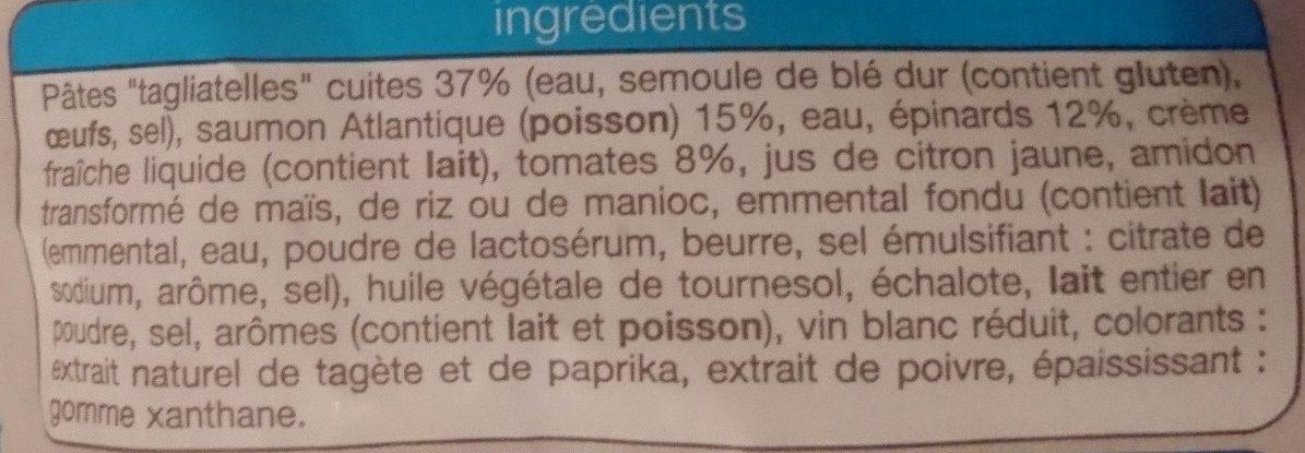 Tagliatelles au Saumon Épinard et Tomates - Ingredients - fr