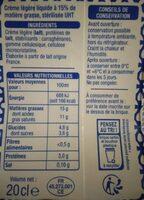 Crème légère fluide 15% - Valori nutrizionali - fr