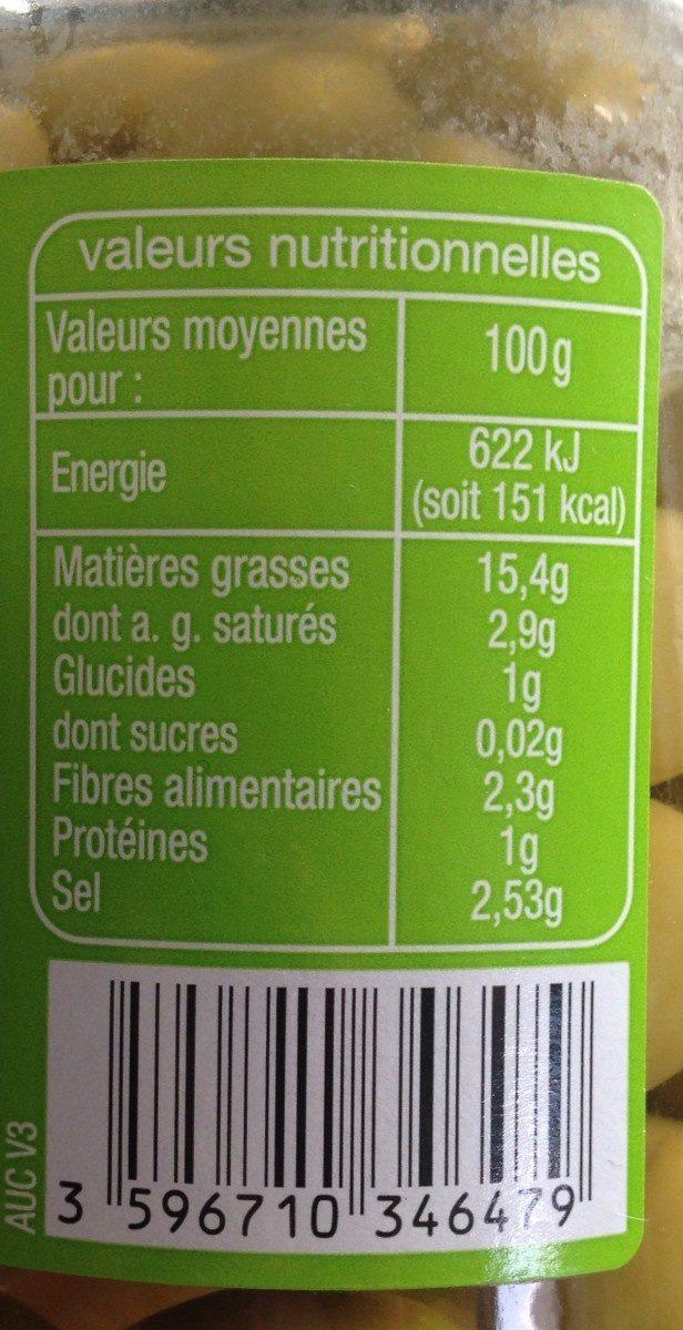 Olives vertes dénoyautées - Voedingswaarden - fr