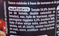 Mmm! Sauce Tomates Parmigiano 190g - Ingrédients - fr