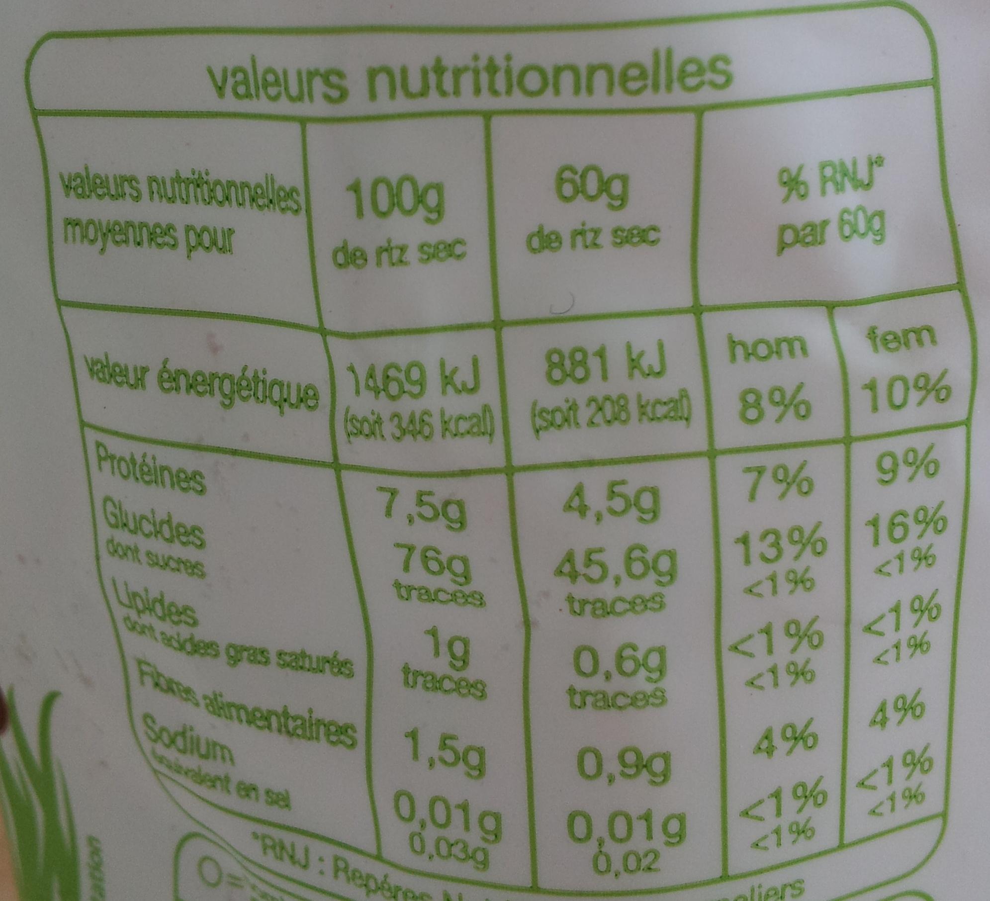 Duo de riz de Camargue - Voedigswaarden
