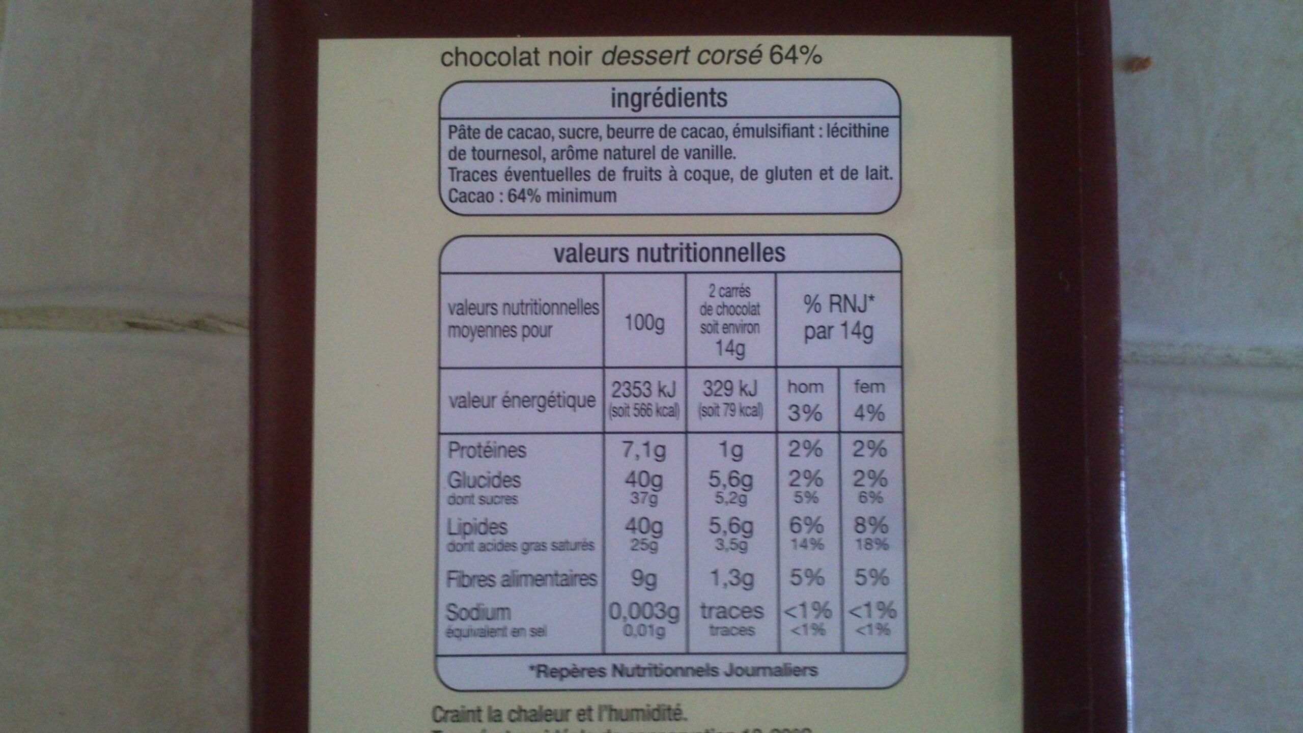 Corsé dessert - Voedigswaarden