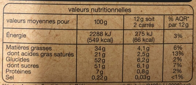 Chocolat Lait Dessert - Nutrition facts - fr