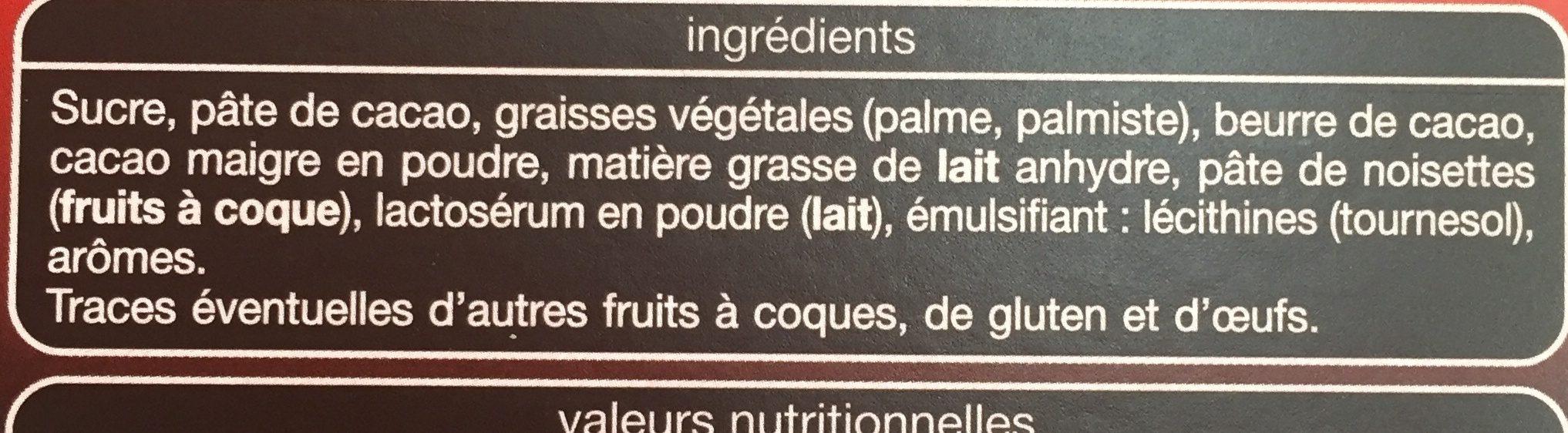 Auchan Chocolat Noir Fourré Mousse Chocolat Tablette - Ingrediënten - fr