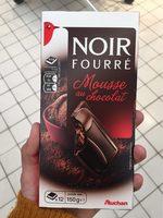 Auchan Chocolat Noir Fourré Mousse Chocolat Tablette - Voedingswaarden - fr