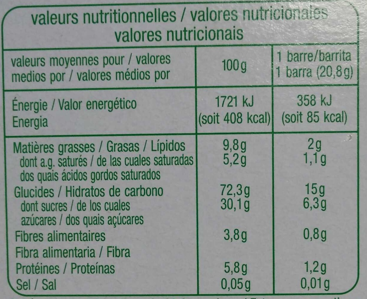Barres de céréales Chocolat - Nutrition facts - fr