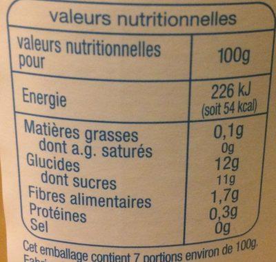 Purée de fruits pomme - Nutrition facts