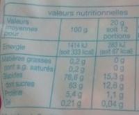Bouteilles Bubble - Voedingswaarden - fr