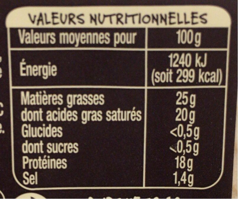 Reblochon de Savoie au lait cru - Nutrition facts - fr