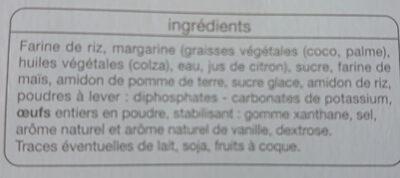Sables Nature Sans Gluten Auchan - Ingrédients - fr