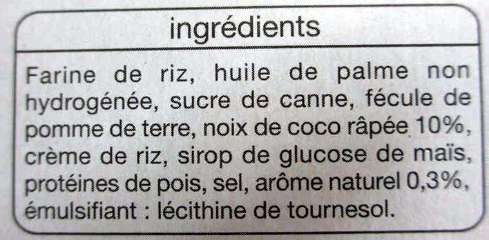 Biscuits sablés coco - Ingredients