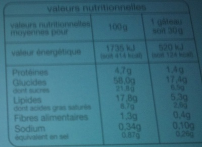 Coquilles moelleuses mieux vivre sans gluten - Informations nutritionnelles - fr