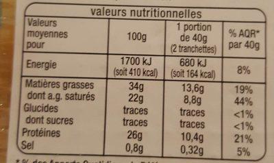 Tranchettes Comté affiné  4 mois - Informations nutritionnelles - fr