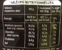 MADELEINES PUR BEURRE X10 MMM! 250G - Informations nutritionnelles - fr