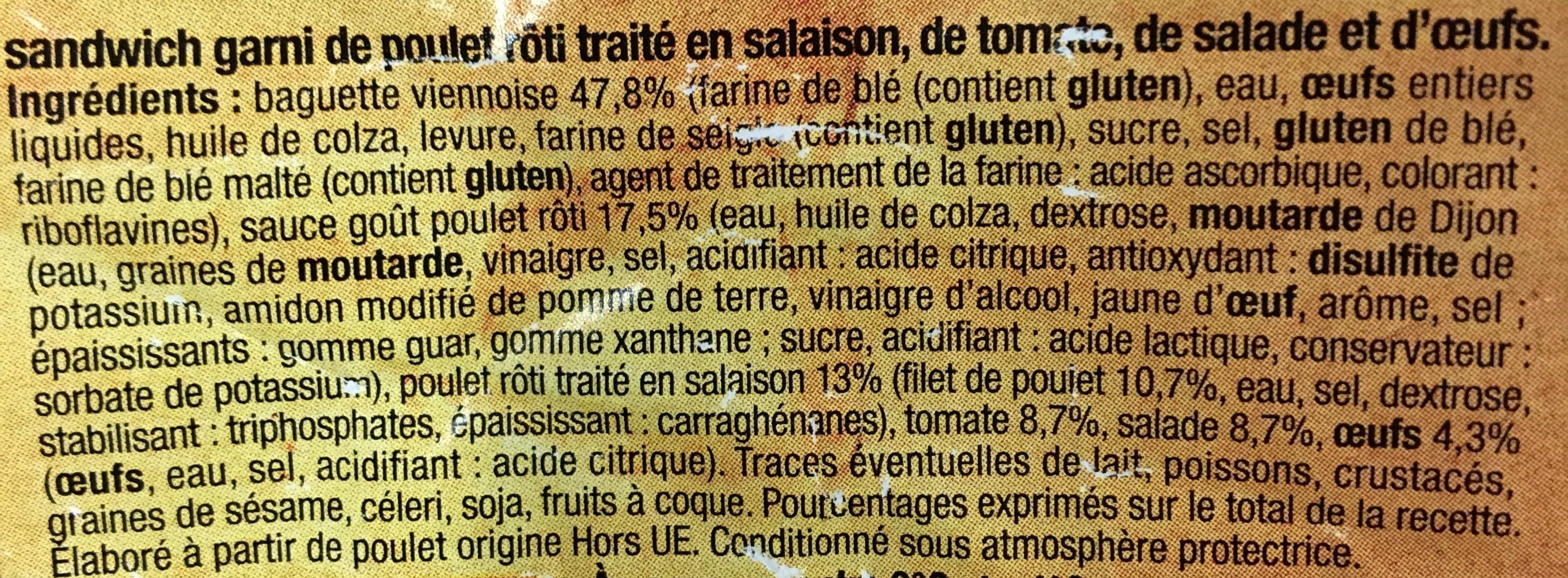 Sandwich Poulet Crudités - Ingrédients - fr