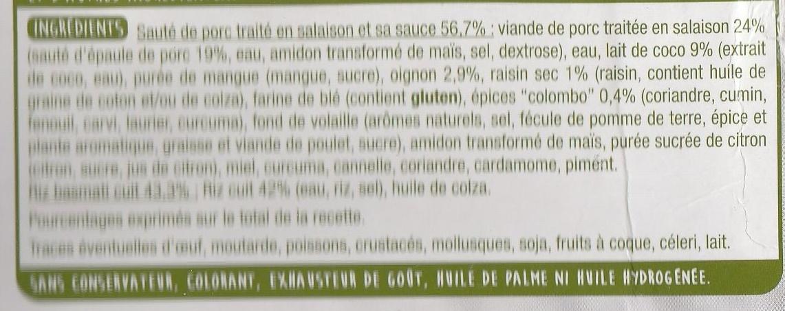 Le Colombo de Porc et son Riz Basmati - Ingredienti - fr