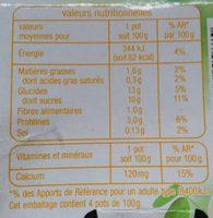 Creme dessert soja vanille - Informations nutritionnelles