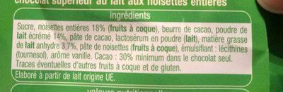Chocolat lait noisettes entières - Ingrédients