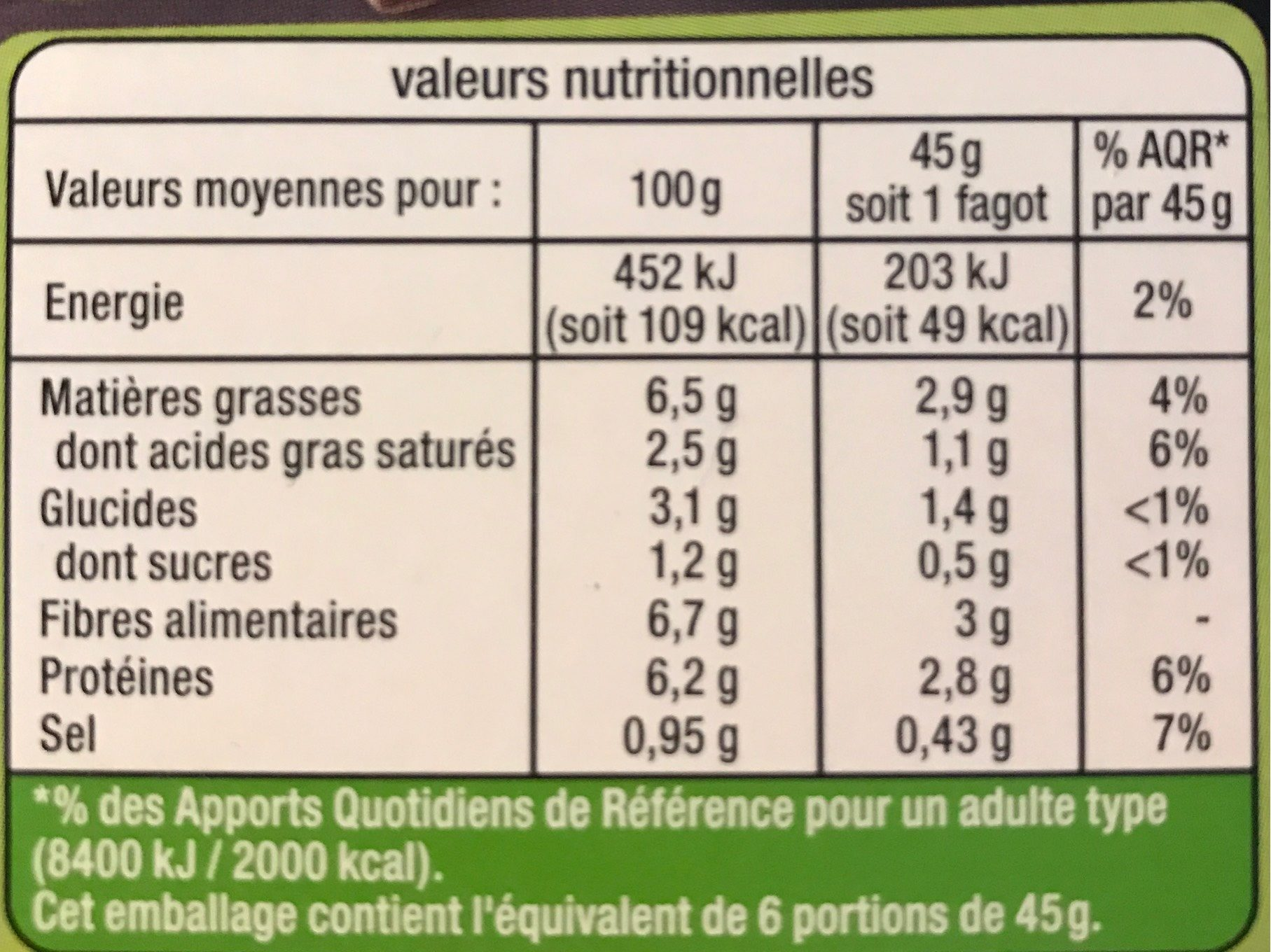 Fagots Haricots Verts - Informations nutritionnelles