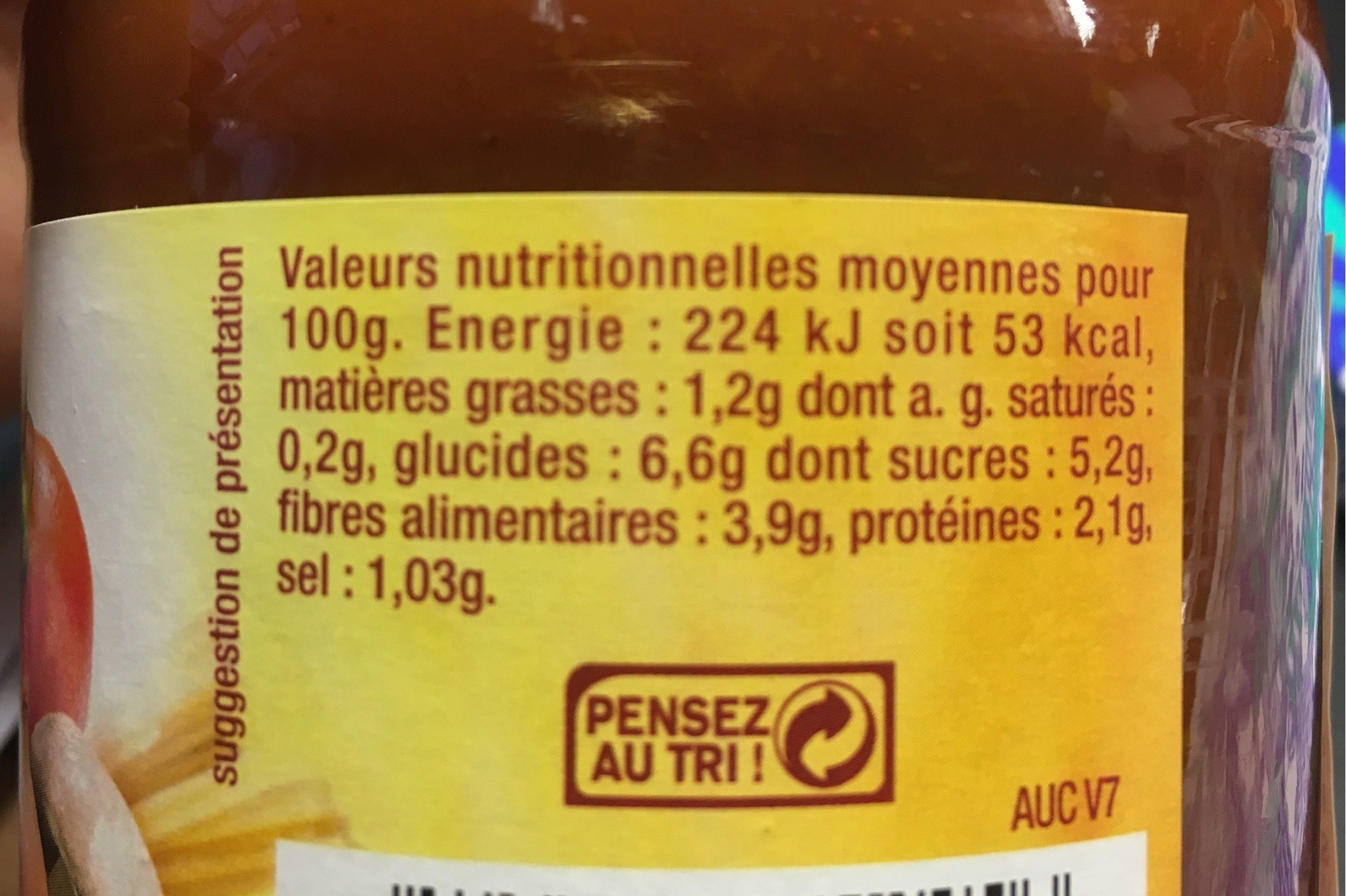 Sauce aux cepes et aux bolets - Nutrition facts