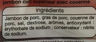 Jambon Supérieur (2 Tranches) Avec couenne - Ingredients - fr