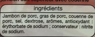 Jambon Supérieur (6 Tranches) Avec couenne - Ingrediënten
