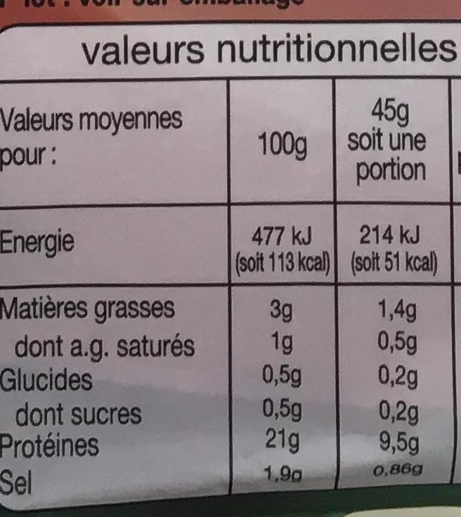 Jambon Supérieur - Informations nutritionnelles - fr