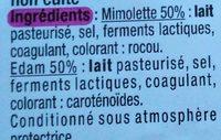 Les Dés mimolette & edam (24 % M.G.) - Ingrédients - fr