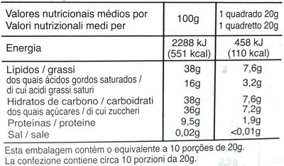Noir Amandes - Nutrition facts