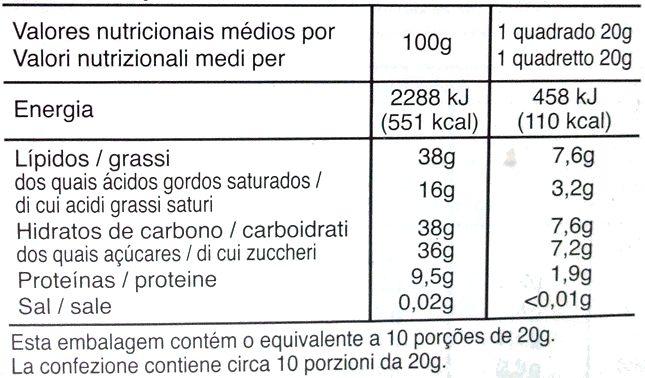 Noir Amandes - Informação nutricional