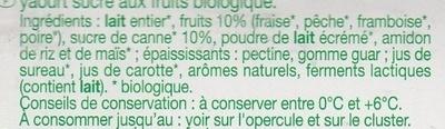 Yaourt aux fruits (fraise, pêche, poire, framboise) - Ingredientes