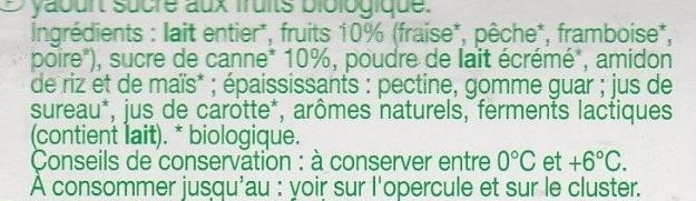 Yaourt aux fruits (fraise, pêche, poire, framboise) - Ingredientes - fr