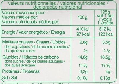 Yaourt aux fruits (fraise, pêche, poire, framboise) - Informação nutricional