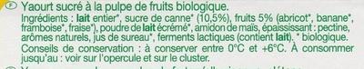 Yaourt aux Fruits mixés (fraise, abricot, banane, framboise) - Ingredientes