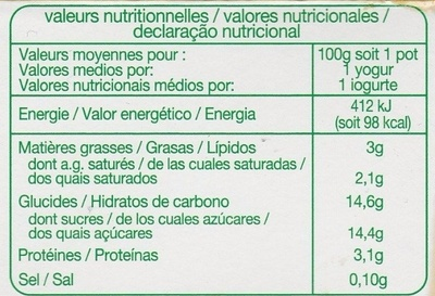 Yaourt aux Fruits mixés (fraise, abricot, banane, framboise) - Información nutricional