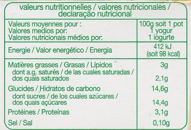 Yaourt aux Fruits mixés - Información nutricional - fr